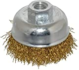 Value Collection - 2-3/4'' Diam, 5/8-11 Threaded Arbor, Brass Fill Cup Brush - 0.02 Wire Diam, 7/8'' Trim Length, 12,500 Max RPM (4 Pack)