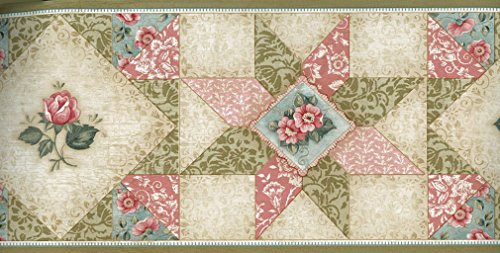 (Wallpaper Border Country Quilt Green Blue Beige Pink Floral Damask Patchwork)