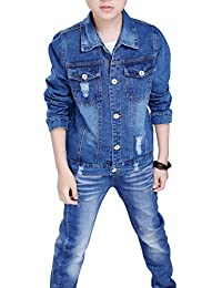 YoungSoul Kids Boys Spring & Autumn Destoryed Holes Denim Jean Jackets Outwears