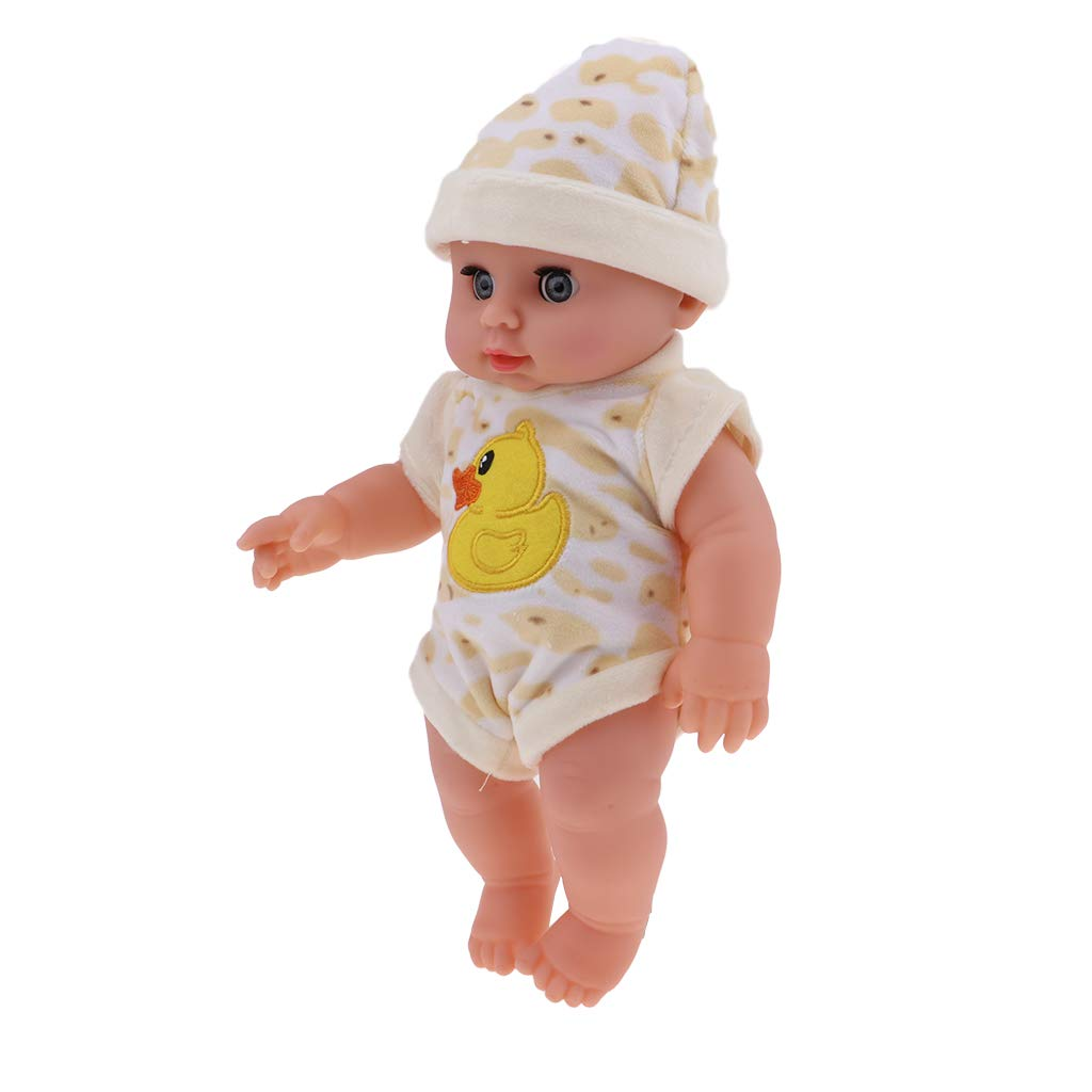 P Prettyia 12 -Inch Soft Body Doll Vinyl Lifelike Sound Laugh Cry Real Newborn Baby Doll for Boys and Girls Birthday Gifts (Yellow Duck)