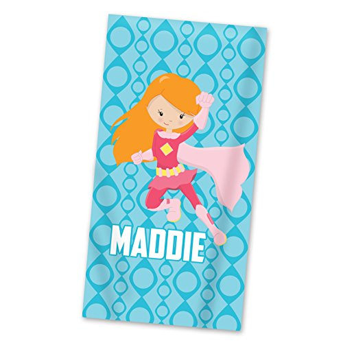 Superhero Beach Towel - Blue Super Girl Personalized Name Light Weight Pool -