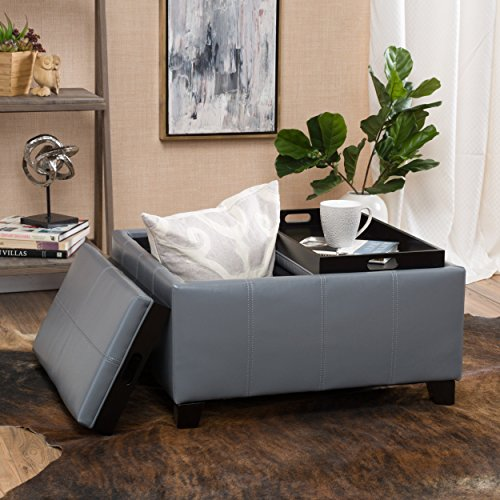 Justin Grey Leather Tray Top Storage Ottoman