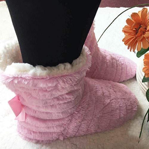 Jolis Boucles Fille Avec Pantoufles Hiver Chaussons À Confortables Deux Rose Jiyaru Maison Femme Botte Nœud Bottillon Chauds Chaussures qgcwU4Y