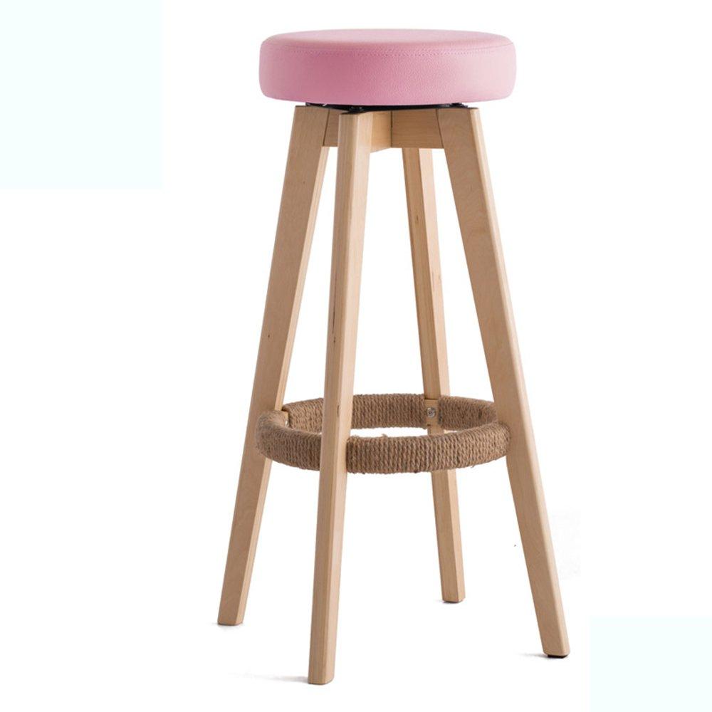Wooden stool Barhocker, Barhocker, Barhocker aus massivem Holz, moderner minimalistischer europäischer Stuhl (Farbe   Braun, größe   484874cm) Rosa 454565.5cm