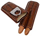 AMANCY Decent Pocket- Fitable Adjustable 2 Tubes Genuine Leather Brown Cigar Case with Cutter Set