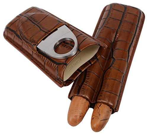AMANCY 2 Tubes Genuine Brown Leather Cigar Case with Cutter Set