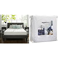 Zinus 10 Inch Hybrid Green Tea Foam and Spring Mattress, Full with AmazonBasics Hypoallergenic Vinyl-Free Waterproof Mattress Protector, Full