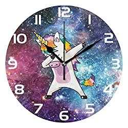 WellLee Cool Dabbing Unicorn Clock Acrylic Painted Silent Non-Ticking Round Wall Clock Home Art Bedroom Living Dorm Room Decor