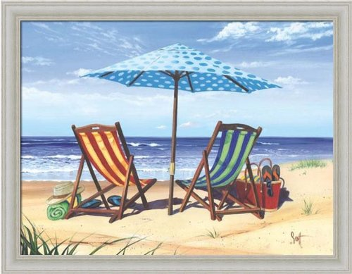 Made In the Shade by Scott Westmoreland Beach Chairs Tropical Décor Framed Art Print Picture