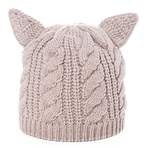Siggi Womens Wool Knit Beige Skull Slouch Beanie Cap Cat Ears Hats Cable Pattern Winter