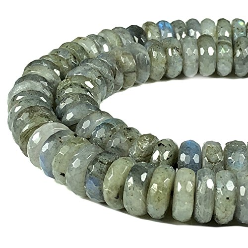 [ABCgems] Extremely Rare Brazilian Labradorite 12mm Faceted Rondelle Beads for Beading & Jewelry Making (12mm Rondelle Bead Faceted)