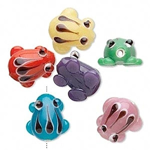 6 Lampwork Glass Assorted Colors Frog Beads for Jewelry Making, Supply for DIY Beading Projects -14x11mm-16x14mm