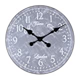 Parisloft 18.9″ Vintage Round Arabic Numerals Metal Quartz Wall Clock Home Room Decoration