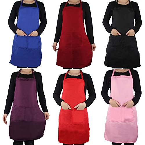 Wholesale Aprons (OMG Unisex Plain Apron with 2 Pockets Chefs Kitchen Cooking Craft Baking Home Cleaning Tool Accessories)