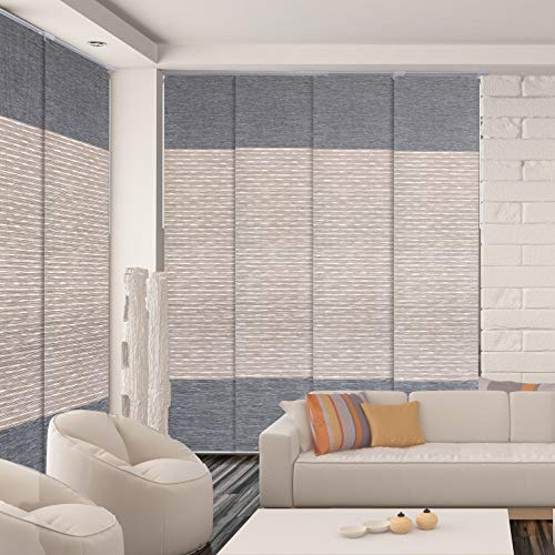 "GoDear Design Deluxe Adjustable Sliding Panel Track Blind 45.8""- 86"" W x 96"" H, Extendable 4-Rail Track, Trimmable Pleated Natural Woven Fabric, 99.99% Blackout, Amazon River"
