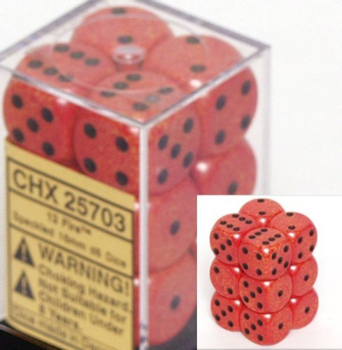 Chessex D6 Speckled - Chessex Dice d6 Sets: Fire Speckled - 16mm Six Sided Die (12) Block of Dice