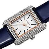Akribos Swarovski Crystal & Diamond Accented Leather Strap Women's Rectangle Watch Packed in a Beautiful Gift Box AK1068 (Blue)