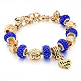 Long Way Gold Plated Snake Chain Glass Beads ''I Love You'' Charm Beaded Bracelets for Women