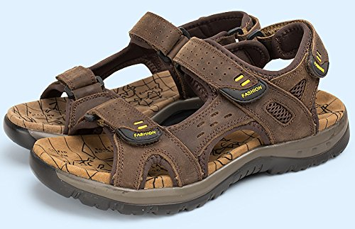 Shoes 11 Leather Hook Mens Sandals Odema Size Summer and Outdoor Open 6 Darkbrown Fisherman Sandals Loop Plus Toe taqwavnYgE