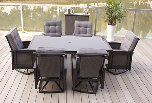8PC Cast Aluminum and Wicker Patio Furniture Set with Bar