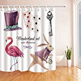 BCNEW Shower Curtain Poker Flamingo Rabbit Clock Hat Wonderland Set White Background,70 x 70 Inches Waterproof Mildew Resistant Polyester Fabric Home Accessories Bathroom Curtains Hanging Curtain,
