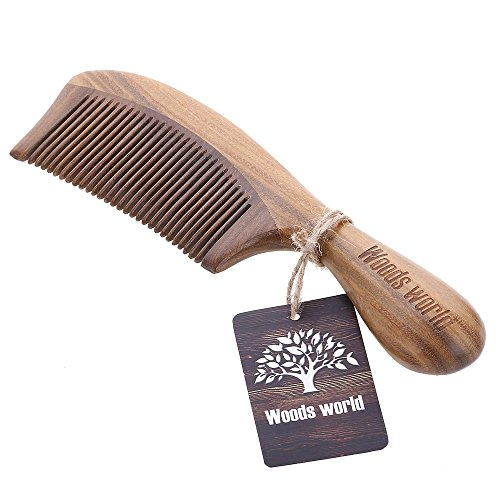 Woods World Green Sandalwood Natural Aroma Hair Comb Handmade Comb No Static Detangling