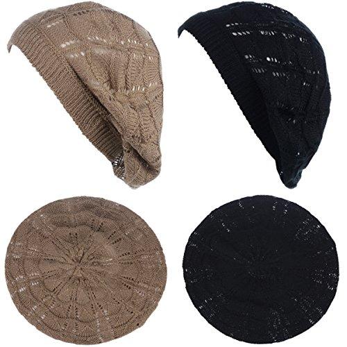 BYOS Chic Parisian Style Soft Lightweight Crochet Cutout Knit Beret Beanie Hat (2-Pack Wavy Stripes Dark Beige & Black)