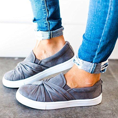 Huiyuzhi Womens Slip On Top geraffte Knoten Flatform Fashion Sneakers Grau