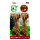 Nylabone Healthy Edibles Natural Dog Treats, Bison Chew Treats for Medium Dogs, 2 Count