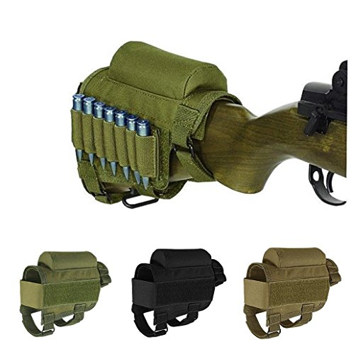 Rifle Ammo Holder Hunting Shooting Rifle Buttstock Cheek Rest Pad with 7 Shells Holder (ArmyGreen)