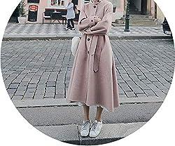 Winter Women Woolen Coat Wild Casual Single Breasted Lapel Temperament Long Woolen Coat Pink L