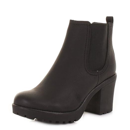 Womens Platform Chunky Heel Pull On Chelsea Boots SIZE 3-8: Amazon ...