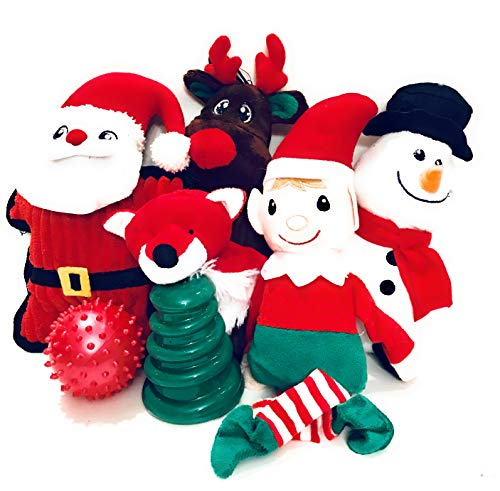 Wolfe & Sparky Amazing Assorted Christmas Dog Toys (7 Count) Made Especially Small Dogs