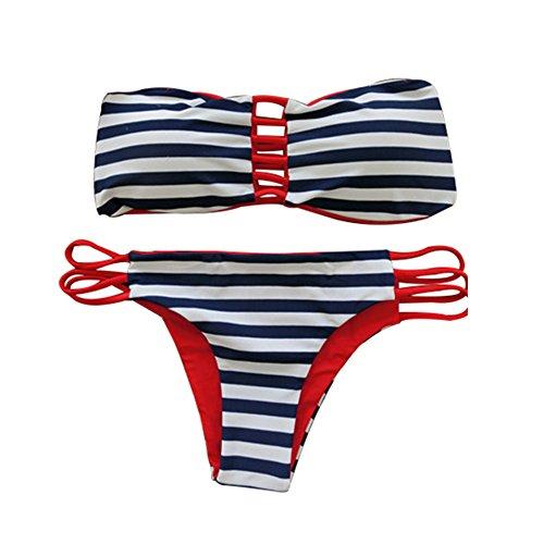 Yoille Two Piece Women Sexy Swimsuit Bohemian Bikini Top High Waist Cut Out Bottom Swimwear - Bikini Stare