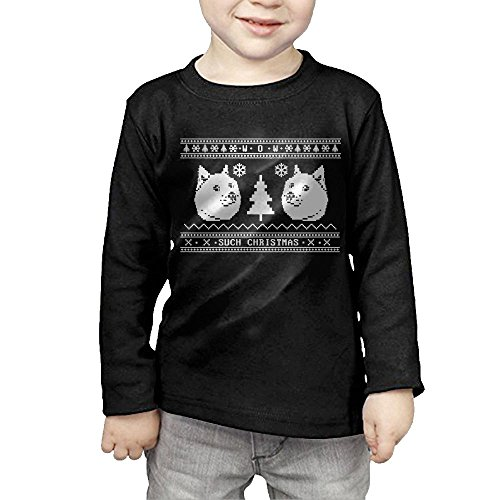 ZheuO Boys & Girls Toddler Doge Ugly Christmas Soft and Cozy 100% Cotton Tee Unisex Black 5-6 Toddler