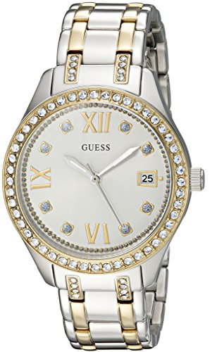 GUESS Women's U0848L4 Sporty Gold-Tone Watch with White Dial , Crystal-Accented Bezel and Stainless Steel Pilot Buckle