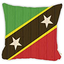 """Rikki Knight Saint Kitts And Nevis Flag on Distressed Wood Microfiber Throw Décor Pillow Cushion 18"""" Square DOUBLE SIDED PRINT (Insert Included)"""