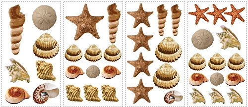 CHSGJY New Sea Shells Wall Decals Tropical Bathroom Stickers Beach Home Decor