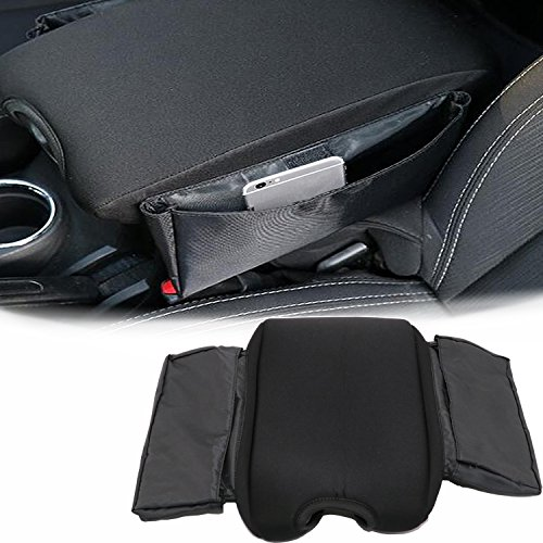 Yoursme Neoprene Center Console Armrest Pad Cover Protector Cushion with Car Seat Side Pocket Storage Organizer Fit for Jeep Wrangler JK JKU Sahara Sport Rubicon x Unlimited 2011-2017