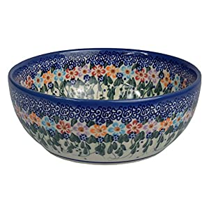 Traditional Polish Pottery, Handcrafted Ceramic Salad Bowl (900ml), Boleslawiec Style Pattern, d.18cm, M.703.Daisy