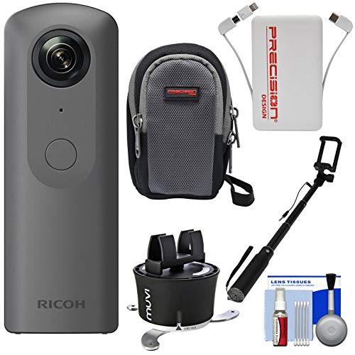 Ricoh Theta V 360-Degree Spherical 4K HD Digital Camera with Time Lapse Device + Selfie Stick + Power Bank + Case + Kit