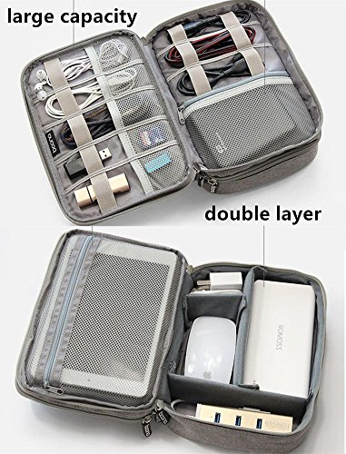 Honeystore Travel Gear Organizer Electronics Accessories Storage Bag Double Layers Travel Gadget Organizer Case for iPad Mini, USB Cable, Plug, Flash Drive, Power Bank, Earphone, Cards and More Gray by Honeystore (Image #4)