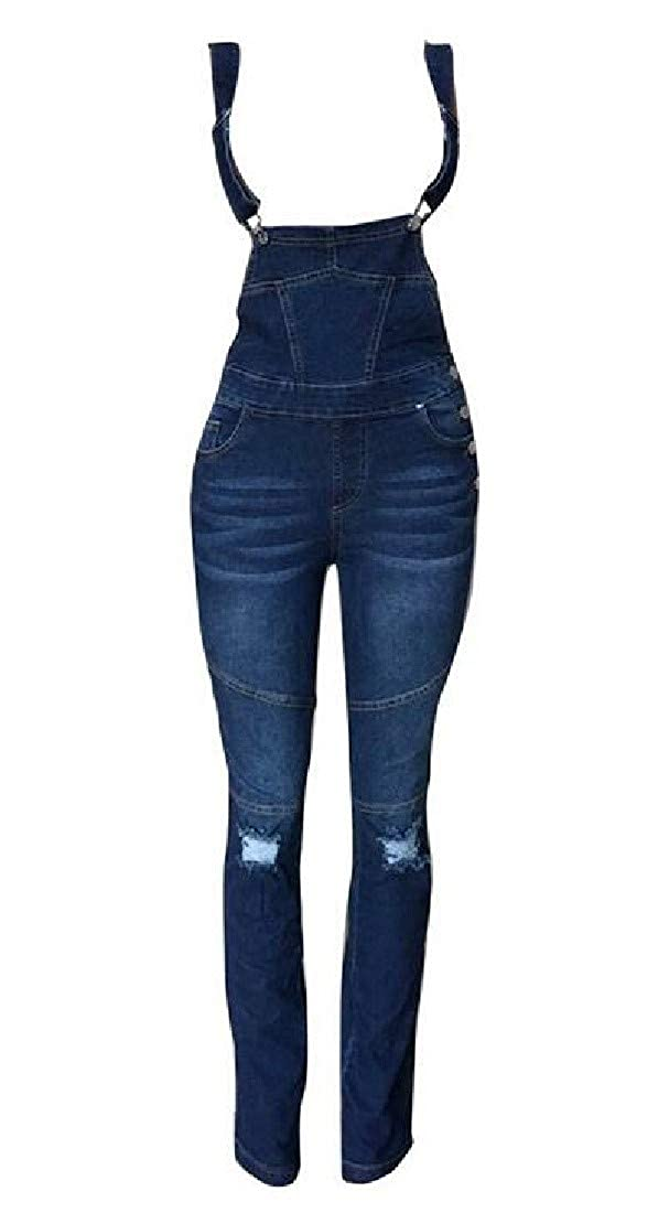 Spirio Womens Stylish Overalls Hole Denim Stretchy Jeans Long Rompers