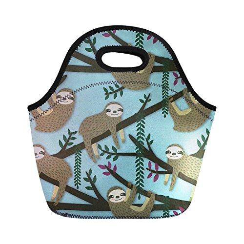 Coloranimal Reusable Lightweight Neoprene Lunch Bag Animal Sloth Printed Portable ()