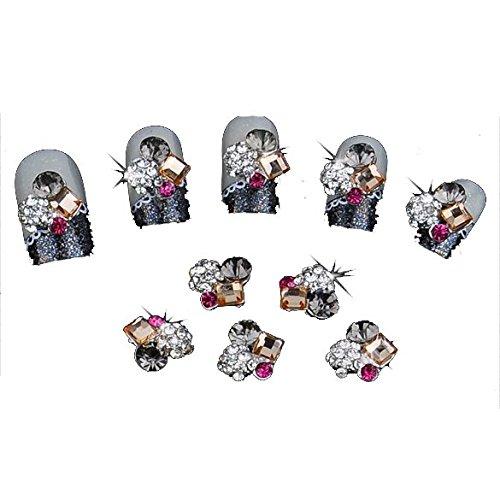 10PCs 3D Metal Rhinestones Pearl Jewelry Flower Glitters Nail Art Tips DIY Decorations Stickers Slices Manicure Makeup UV Gel Ac -