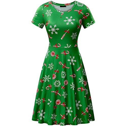 ens Dress Santa Claus Print Aline Flared Short Sleeve Xmas Evening Party Dress(Green, US Size S = Tag M) ()