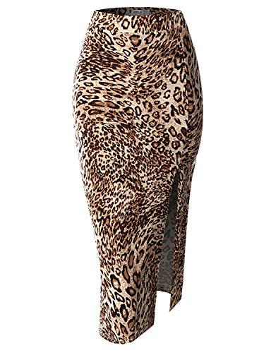SJSP Womens Mini Bodycon Pull on LEOPARDBROWN Tight Skirt,L