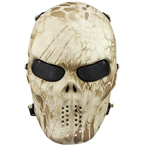 Tactical Mask Skull Full Face with Metal Mesh Eye Protection-Airsoft/BB Gun/CS Game-Zombie Masks Heads Scary for Cosplay Party Halloween Tricky Man&Women (Glasses Friendly Halloween Masks)