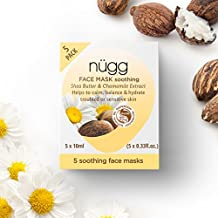 nügg Sensitive Skin Face Mask to Soothe, Balance and Hydrate Sensitive, Troubled Skin; Winner of Allure Best of Beauty Award; With Shea Butter and Chamomile Extract; 5 Pack