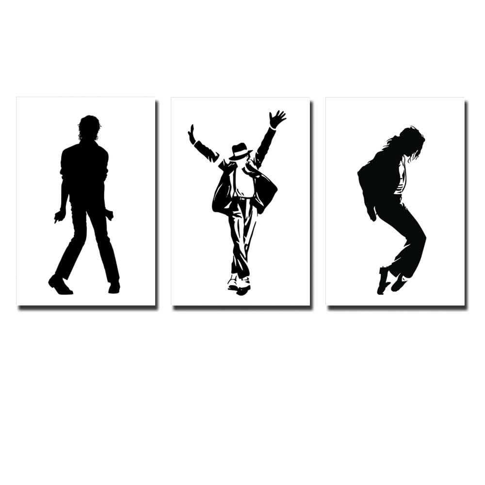 Wall26 - Canvas Prints Wall Art - Michael Jackson Dance Move Silhouette in Black and White | Modern Wall Decor/ Home Decoration Stretched Gallery Canvas Wrap Giclee Print & Ready to Hang - 16''x24''x3 Panels